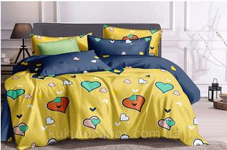 """Семейный комплект постельного белья """"Сердечки на желтом"""" из сатина"""