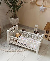 Деревянная кроватка для кукол Agnes белая (без постельки для кукол)