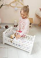 Деревянная кроватка для кукол Agnes белая (с постелькой для кукол)