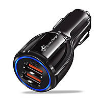 Автомобильное зарядное устройство Alitek LED Ring BK-348 USB 2 Port: Quick Charge 3.0 + 3.1A Black