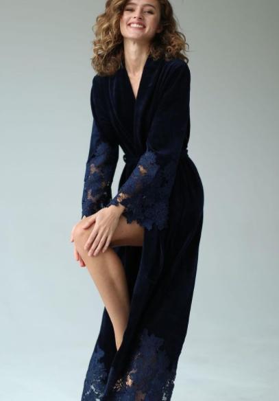 Велюровый женский халат Suavite Marielle темно-синий