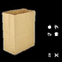 Бумажный пакет без ручек крафтовый с прямоугольным дном 260х130х350мм (ШхГхВ) 70г/м² 100шт (686), фото 1