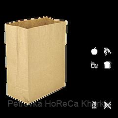 Паперовий пакет без ручок крафтовый з прямокутним дном 260х130х350мм (ШхГхВ) 70г/м2 100шт (686)
