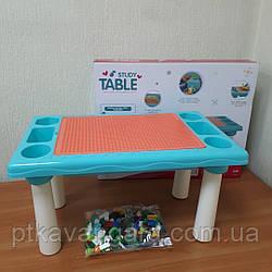 Столик Игровой для песка и воды 2в1, детский столик с Конструктором 300 Маленьких деталей 9182