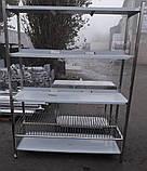 Стелаж виробничий 2100х500х1800 4 полиці з 201 нержавіючої сталі, фото 6