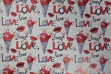 Бумага размер 1 метр на 70 см для упаковки подарков с рисунком и надписью Love 1 шт