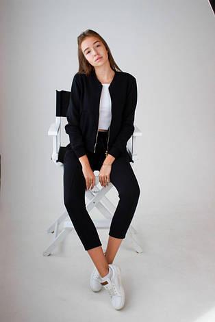 Спортивный костюм женский на молнии черный, фото 2
