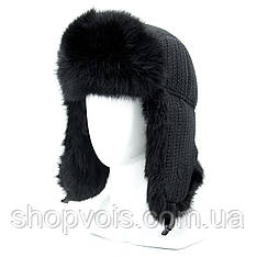 Зимняя мужская шапка ушанка из натурального меха SU17