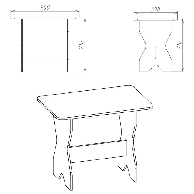Стол кухонный КС-1 бук Компанит (90х59х72 см), фото 7