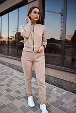 Спортивный костюм женский на молнии бежевый, фото 3