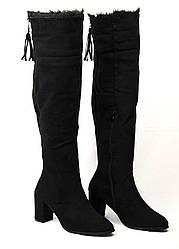 Зимние черные сапоги ботфорты на каблуке Filipo 38-40