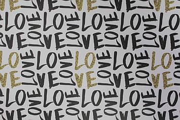 Бумага для упаковки подарков с надписью Love 1 лист размером 85 см на 80 см
