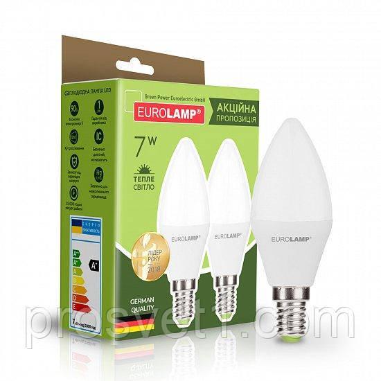 Промо-набор EUROLAMP LED CL 7W E14 3000K 220V акция 1+1