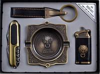 Подарочный набор зажигалка.нож.брелок.пепельница