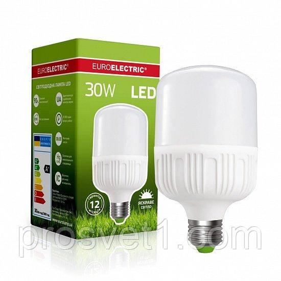 Высокомощная светодиодная лампа EUROELECTRIC Plastic 30W E27 4000K 220V