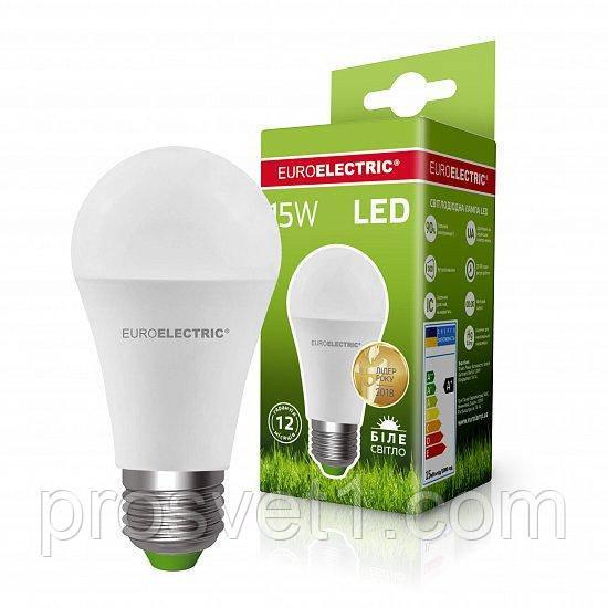 Світлодіодна лампа EUROELECTRIC LED А60 15W E27 4000K 220V