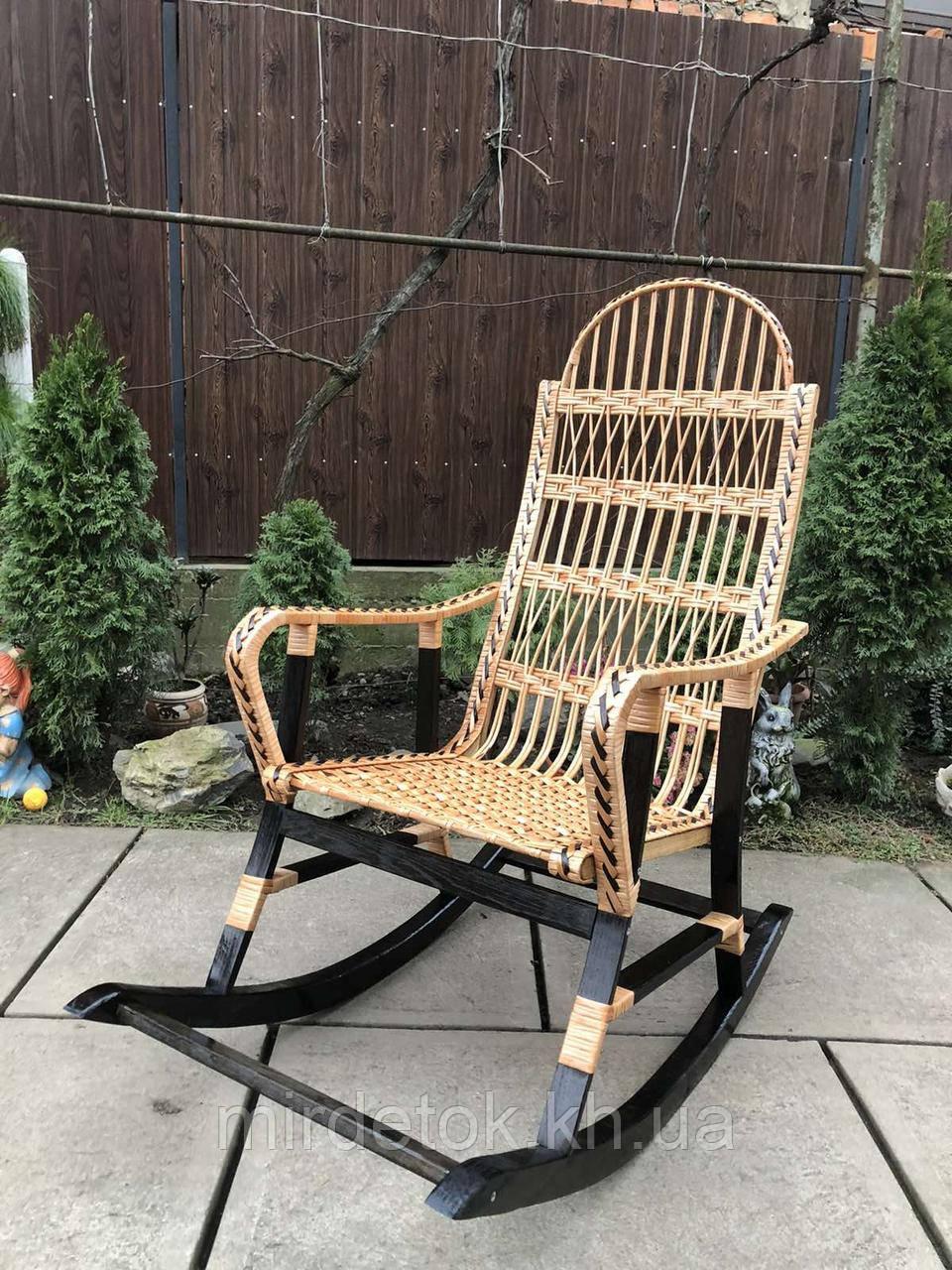 Кресло-качалка из лозы разборное Принцесса-3 Black