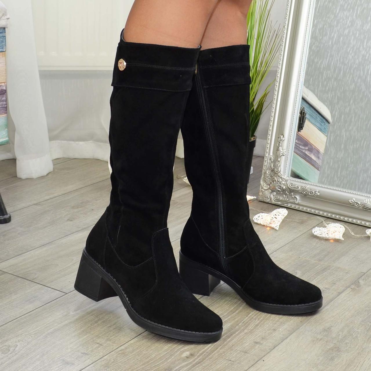 Жіночі зимові чорні замшеві чоботи на стійкому каблуці