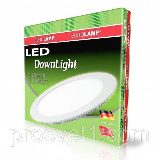 Светодиодный светильник EUROLAMP круглый Downlight 18W 4000K