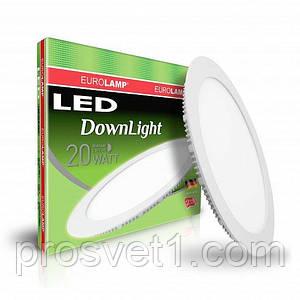 Светодиодный светильник EUROLAMP круглый Downlight 20W 4000K