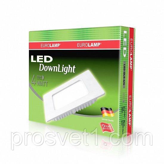 Світлодіодний світильник EUROLAMP квадратний Downlight 4W 4000K