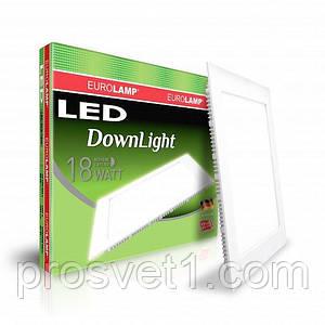 Светодиодный светильник EUROLAMP квадратный Downlight 18W 4000K