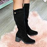 Жіночі зимові чорні замшеві чоботи на стійкому каблуці, фото 4