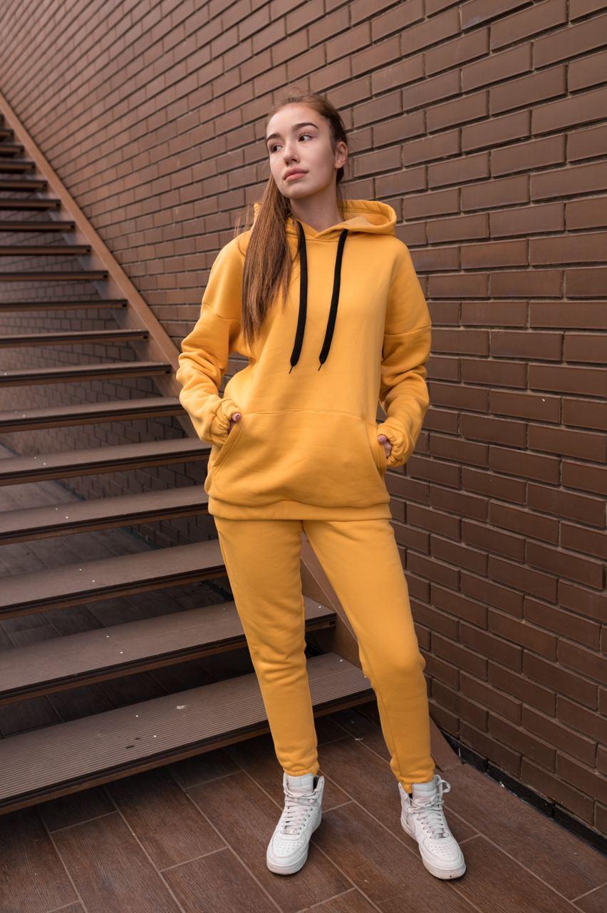Спортивный костюм женский с капюшоном желтый
