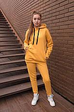 Спортивный костюм женский с капюшоном желтый, фото 2