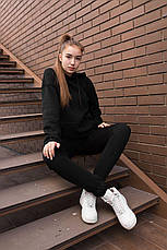 Спортивный костюм женский с капюшоном черный, фото 2