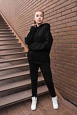 Спортивный костюм женский с капюшоном черный, фото 3