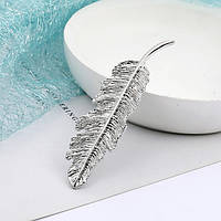 Заколка зажим для волос Перо 8,5см ( цвет серебро), фото 1