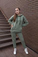 Спортивный костюм женский с капюшоном зеленый, фото 3