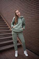 Спортивный костюм женский с капюшоном зеленый, фото 2