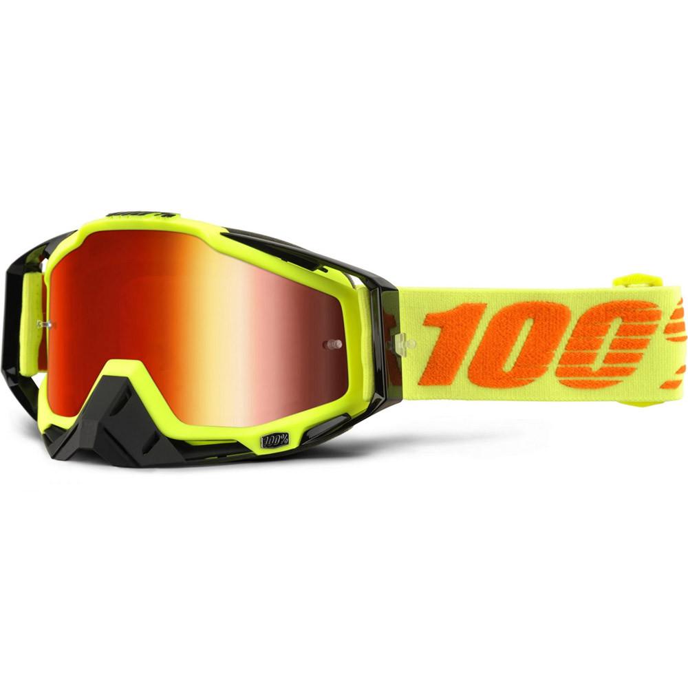 Кроссовые мотоочки 100 % RACECRAFT Goggle Attack Yellow - Mirror Red Lens