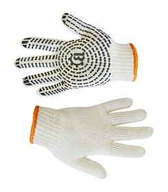 Перчатки рабочие Украина вязанные белые с ПВХ размер L (16-023-1)