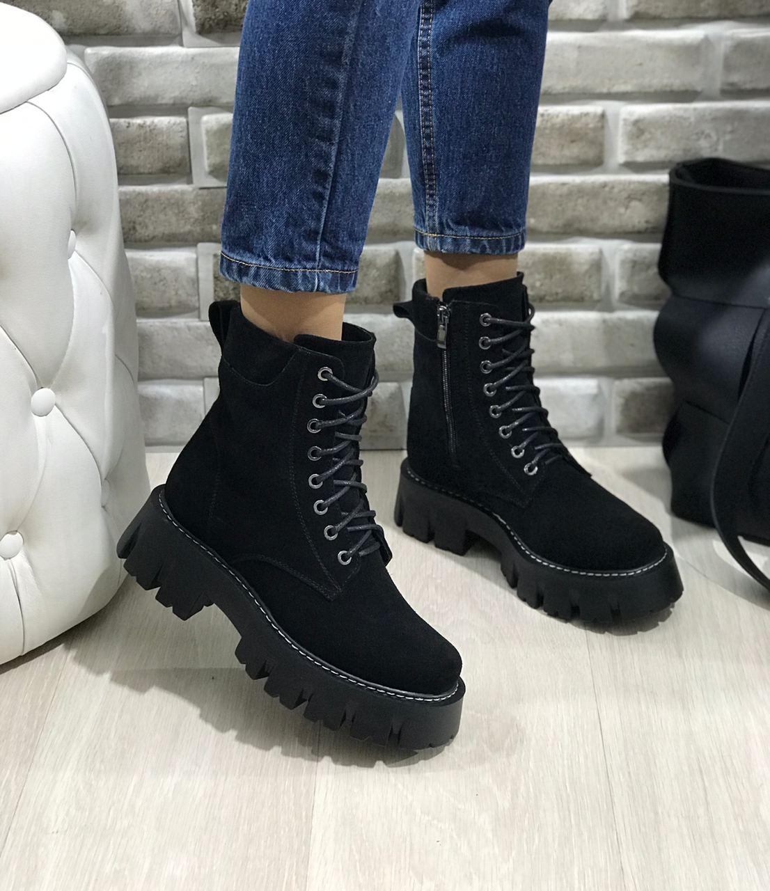Женские ботинки прада замш