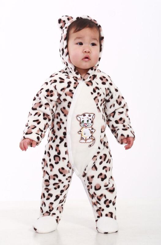 Комбинезон леопардовый для новорождённых (маломерка) велсофт