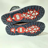 Зимние детские кожаные ботинки р. 35 последняя пара на молнии + шнуровка Темно-синие, фото 8