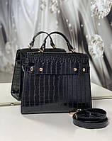 Женская сумка офисная деловая классическая сумочка средняя черная под рептилию экокожа, фото 1