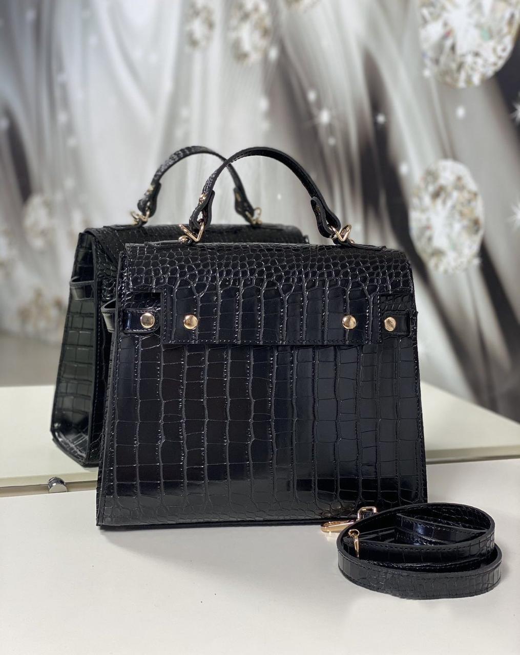Женская сумка офисная деловая классическая сумочка средняя черная под рептилию экокожа
