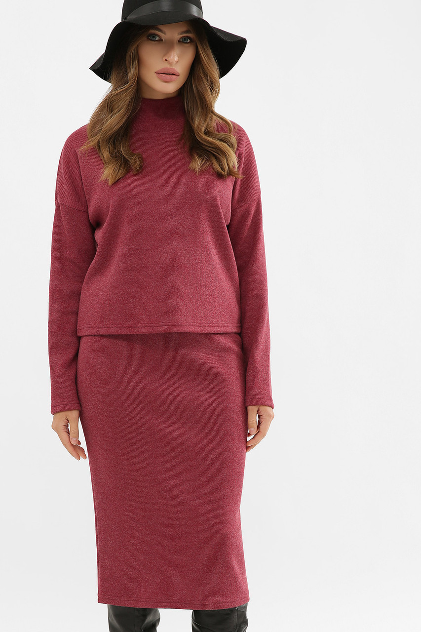 Женский теплый костюм двойка кофта и юбка ангора шерсть бордовый Эдуарда
