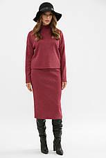 Женский теплый костюм двойка кофта и юбка ангора шерсть бордовый Эдуарда, фото 3