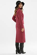 Женский теплый костюм двойка кофта и юбка ангора шерсть бордовый Эдуарда, фото 2