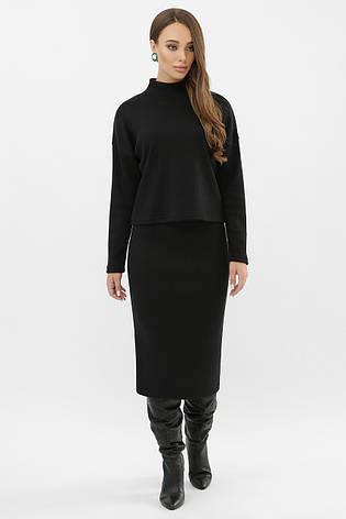 Черный теплый женский костюм с юбкой ангора шерсть Эдуарда, фото 2