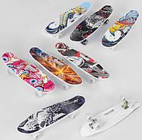 Скейт детский от 10 лет, дека 65 см, колёса светящиеся PU Скейтборд, Penny board, для детей подростков