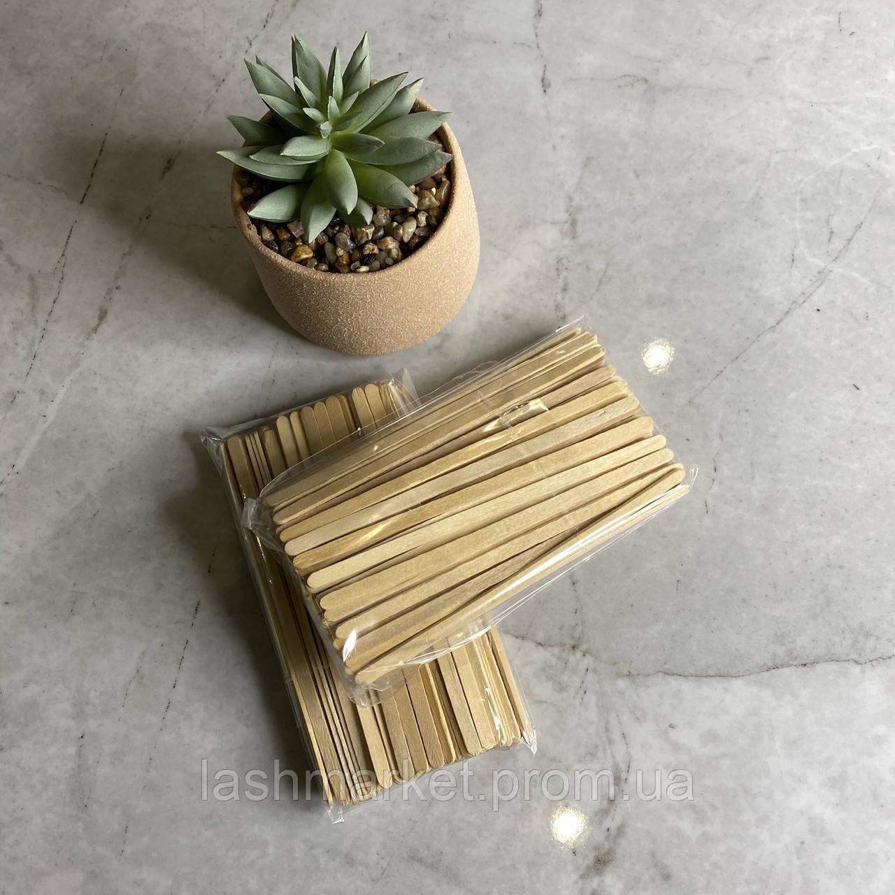 Шпатель деревянный 100 шт (для воска, для снятия искусственных ресниц)