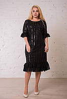 Черное блестящее платье праздничное, нарядное с паетками. Размеры: 44, 46. Замеры в описании., фото 1