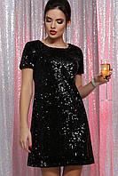 Черное короткое вечернее платье трапеция с пайетками Ираида к/р