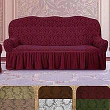 Натяжные универсальные готовые чехлы накидки на трехместные диваны с оборкой жаккардовый Бордовый Турция